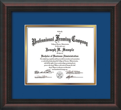 Image of Custom Mahogany Braid Art and Document Frame with Royal Blue on Gold Mat