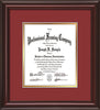Image of Custom Mahogany Lacquer Art and Document Frame with Garnet on Gold Mat Vertical