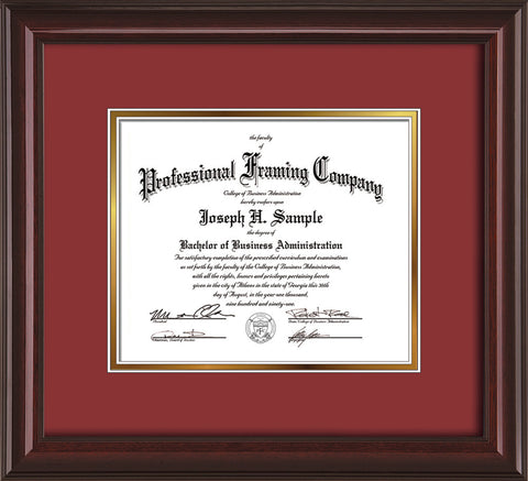 Image of Custom Mahogany Lacquer Art and Document Frame with Garnet on Gold Mat