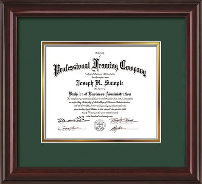 Image of Custom Mahogany Lacquer Art and Document Frame with Green on Gold Mat