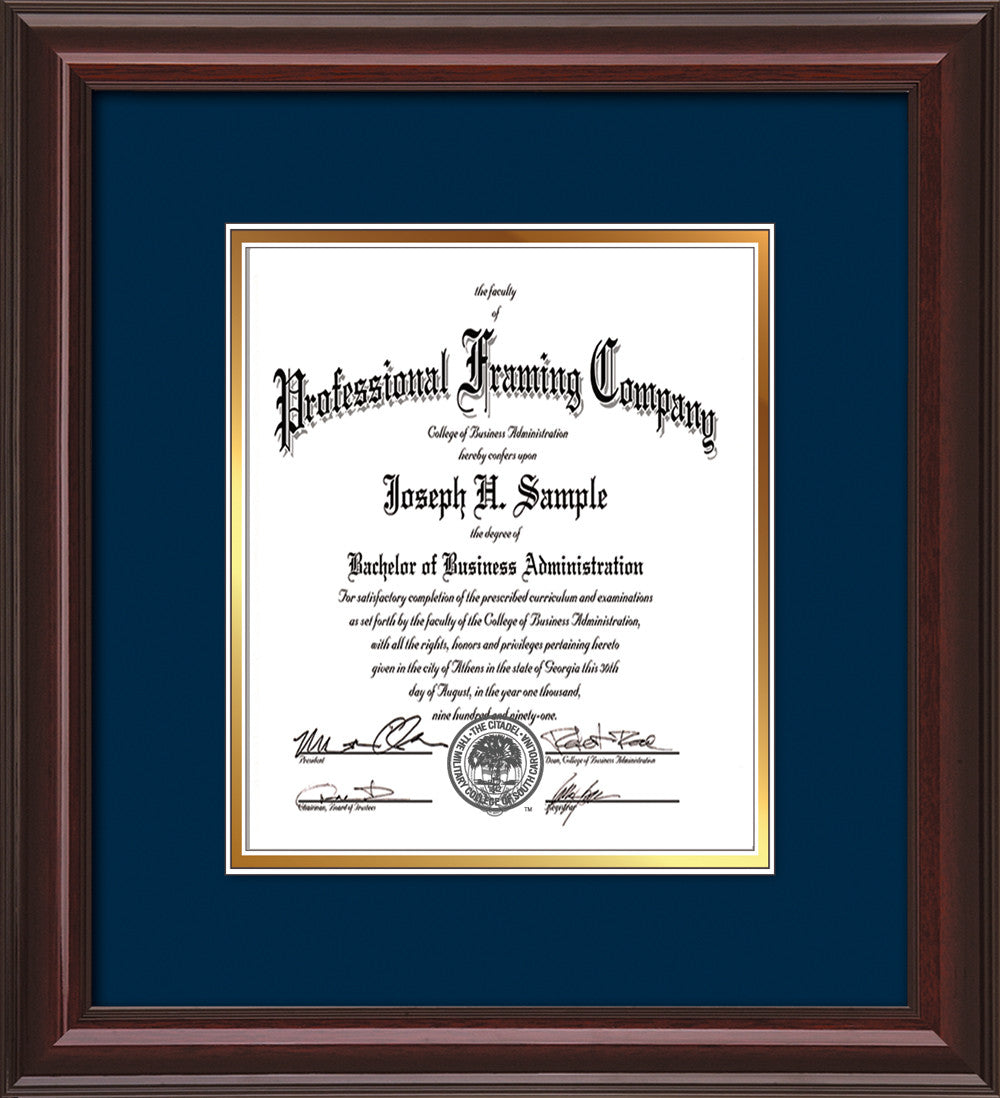 Custom Mahogany Lacquer Document - Certificate Frame - Navy on Gold ...