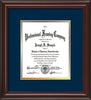 Image of Custom Mahogany Lacquer Art and Document Frame with Navy on Gold Mat Vertical