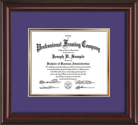 Image of Custom Mahogany Lacquer Art and Document Frame with Purple on Gold Mat