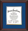 Image of Custom Mahogany Lacquer Art and Document Frame with Royal Blue on Gold Mat Vertical