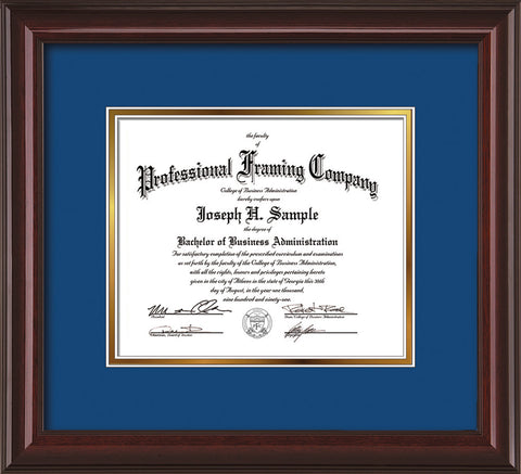 Image of Custom Mahogany Lacquer Art and Document Frame with Royal Blue on Gold Mat