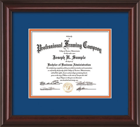 Image of Custom Mahogany Lacquer Art and Document Frame with Royal Blue on Orange Mat