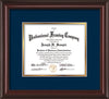 Image of Custom Mahogany Lacquer Art and Document Frame with Navy on Gold Mat