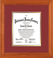 Image of Custom Oak Art and Document Frame with Garnet on Gold Mat Vertical
