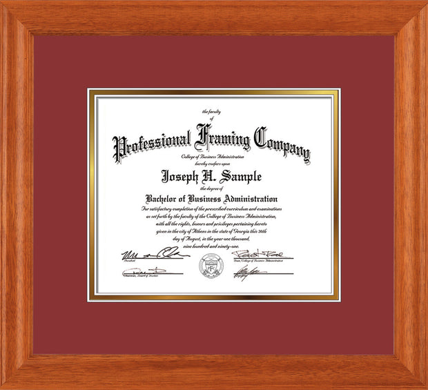 Image of Custom Oak Art and Document Frame with Garnet on Gold Mat