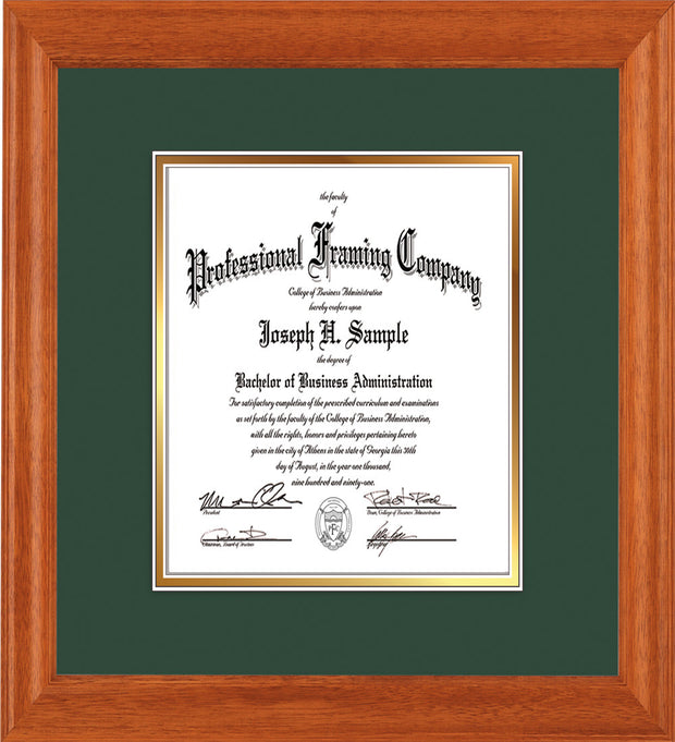 Image of Custom Oak Art and Document Frame with Green on Gold Mat Vertical