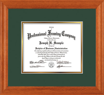 Image of Custom Oak Art and Document Frame with Green on Gold Mat