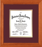 Image of Custom Oak Art and Document Frame with Maroon on Gold Mat Vertical