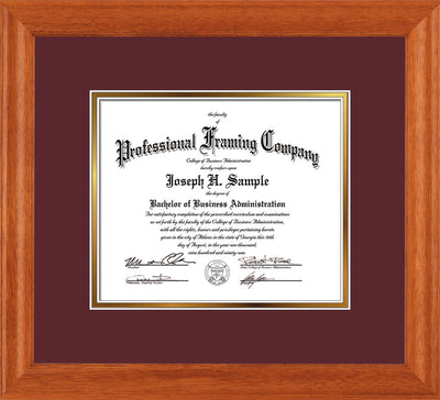 Image of Custom Oak Art and Document Frame with Maroon on Gold Mat