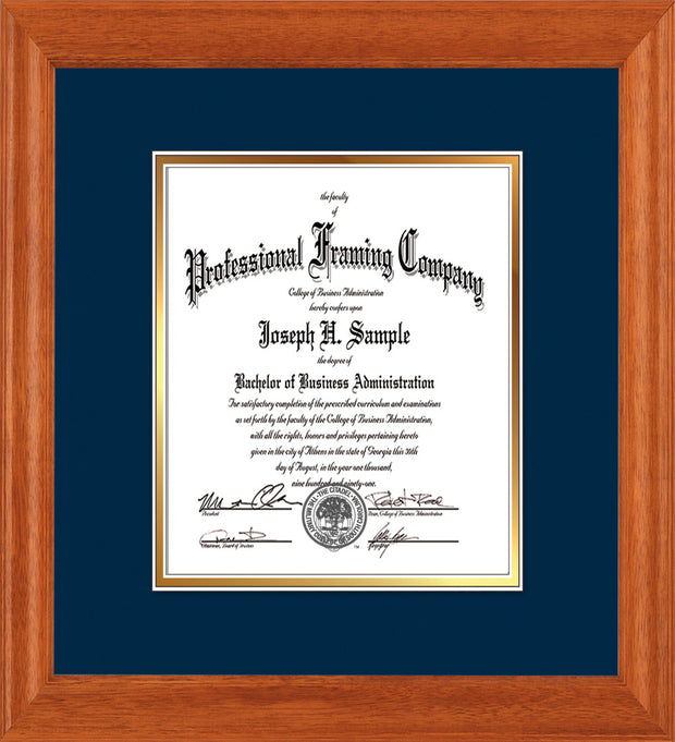 Image of Custom Oak Art and Document Frame with Navy on Gold Mat Vertical