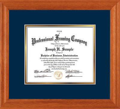Image of Custom Oak Art and Document Frame with Navy on Gold Mat