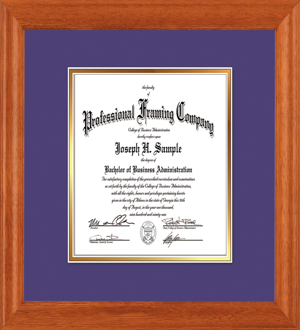 image of custom oak art and document frame with purple on gold mat vertical - Document Frame