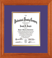 Image of Custom Oak Art and Document Frame with Purple on Gold Mat Vertical