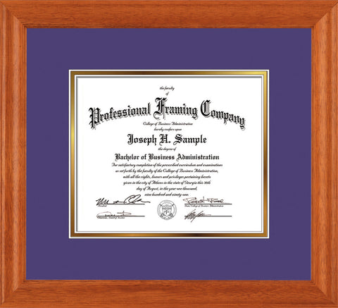 Image of Custom Oak Art and Document Frame with Purple on Gold Mat