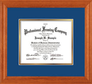 Image of Custom Oak Art and Document Frame with Royal Blue on Gold Mat