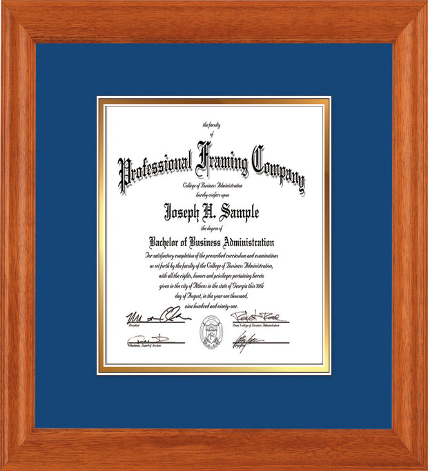 Image of Custom Oak Art and Document Frame with Royal Blue on Gold Mat Vertical