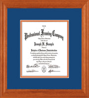 Image of Custom Oak Art and Document Frame with Royal Blue on Orange Mat Vertical