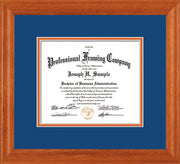 Image of Custom Oak Art and Document Frame with Royal Blue on Orange Mat