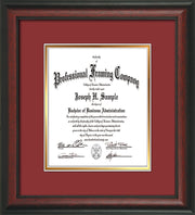 Image of Custom Rosewood Art and Document Frame with Garnet on Gold Mat Vertical