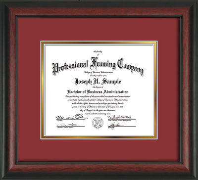 Image of Custom Rosewood Art and Document Frame with Garnet on Gold Mat