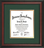 Image of Custom Rosewood Art and Document Frame with Green on Gold Mat Vertical