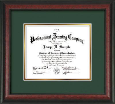 Image of Custom Rosewood Art and Document Frame with Green on Gold Mat
