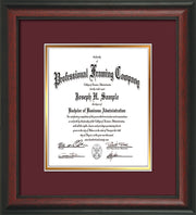 Image of Custom Rosewood Art and Document Frame with Maroon on Gold Mat Vertical