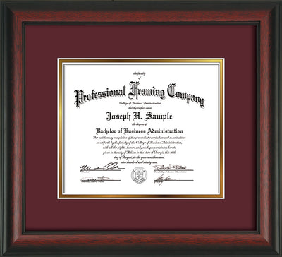 Image of Custom Rosewood Art and Document Frame with Maroon on Gold Mat