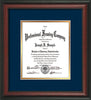 Image of Custom Rosewood Art and Document Frame with Navy on Gold Mat Vertical