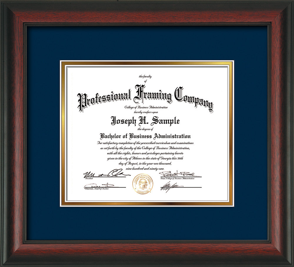 Custom Rosewood Document - Certificate Frame - Navy on Gold ...