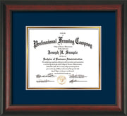 Image of Custom Rosewood Art and Document Frame with Navy on Gold Mat