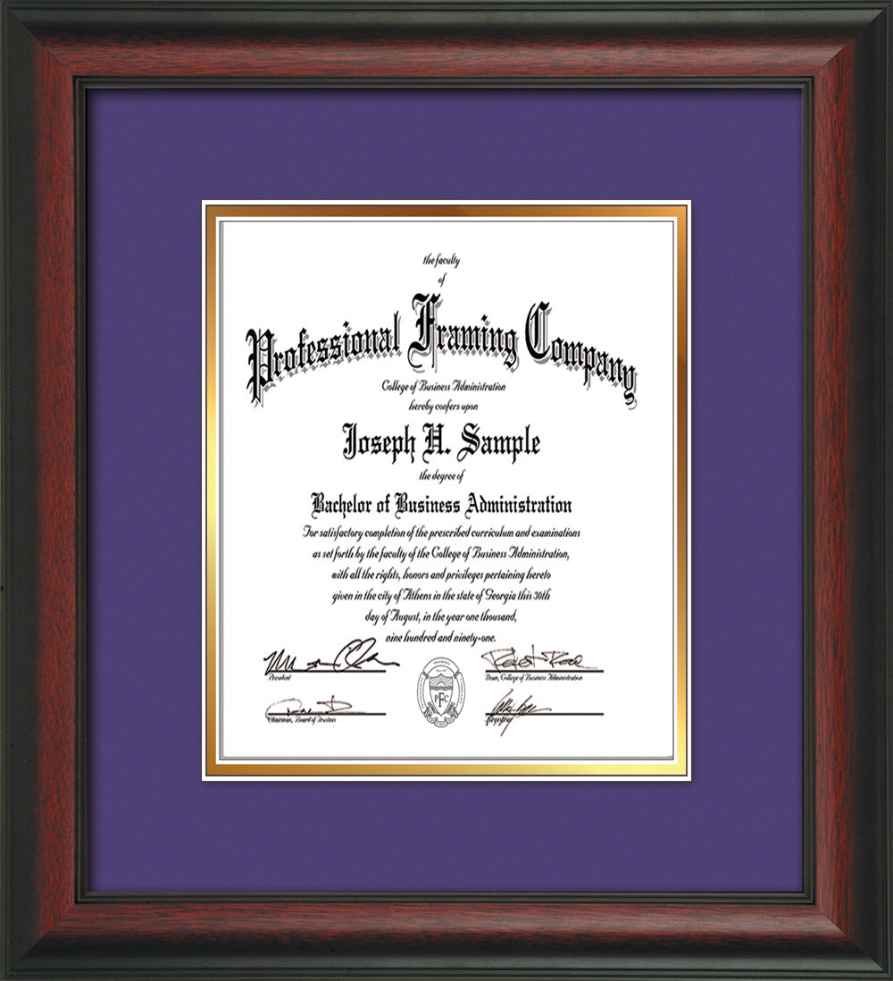 Custom Rosewood Document - Certificate Frame - Purple on Gold ...