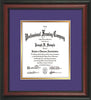 Image of Custom Rosewood Art and Document Frame with Purple on Gold Mat Vertical