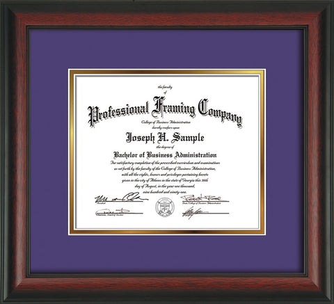 Image of Custom Rosewood Art and Document Frame with Purple on Gold Mat