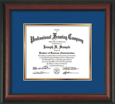 Image of Custom Rosewood Art and Document Frame with Royal Blue on Gold Mat