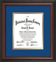 Image of Custom Rosewood Art and Document Frame with Royal Blue on Gold Mat Vertical