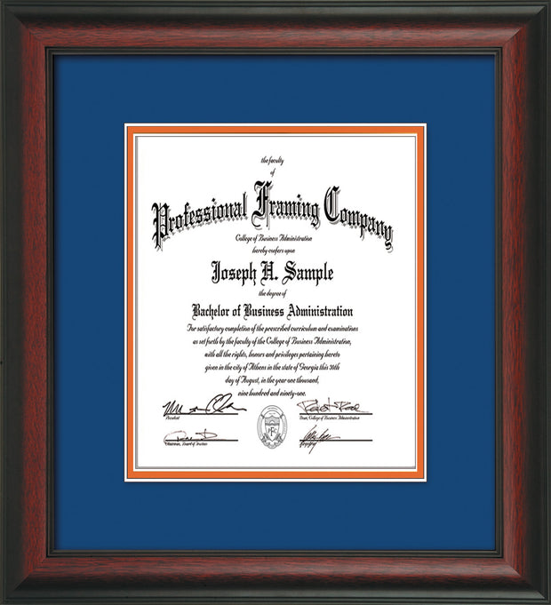 Image of Custom Rosewood Art and Document Frame with Royal Blue on Orange Mat Vertical