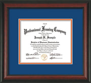 Image of Custom Rosewood Art and Document Frame with Royal Blue on Orange Mat