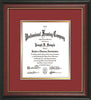 Image of Custom Rosewood with Gold Lip Art and Document Frame with Garnet on Gold Mat Vertical