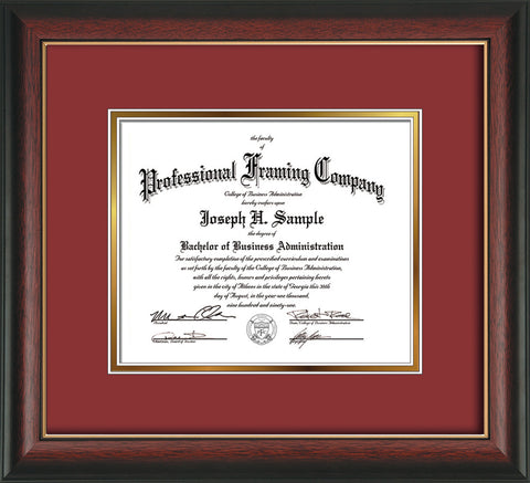 Image of Custom Rosewood with Gold Lip Art and Document Frame with Garnet on Gold Mat