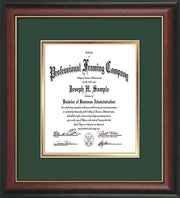 Image of Custom Rosewood with Gold Lip Art and Document Frame with Green on Gold Mat Vertical
