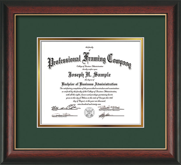 Image of Custom Rosewood with Gold Lip Art and Document Frame with Green on Gold Mat