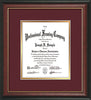 Image of Custom Rosewood with Gold Lip Art and Document Frame with Maroon on Gold Mat Vertical