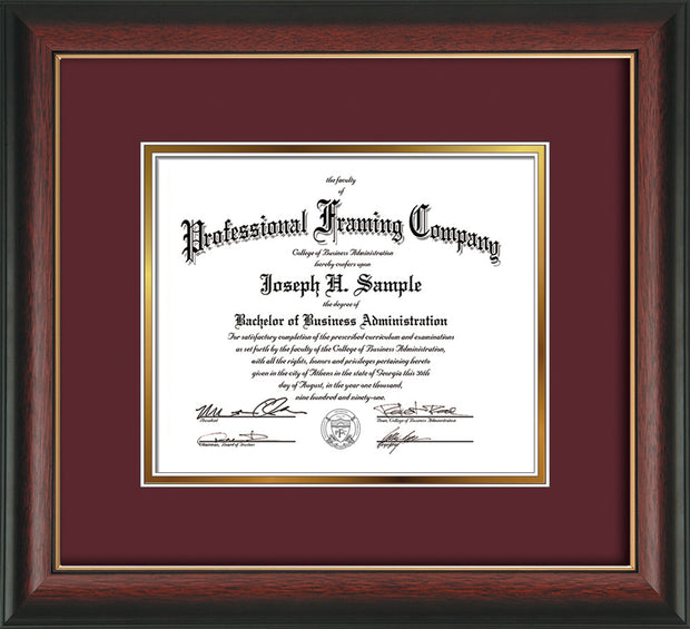 Image of Custom Rosewood with Gold Lip Art and Document Frame with Maroon on Gold Mat