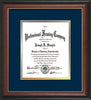 Image of Custom Rosewood with Gold Lip Art and Document Frame with Navy on Gold Mat Vertical