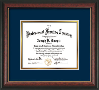 Image of Custom Rosewood with Gold Lip Art and Document Frame with Navy on Gold Mat